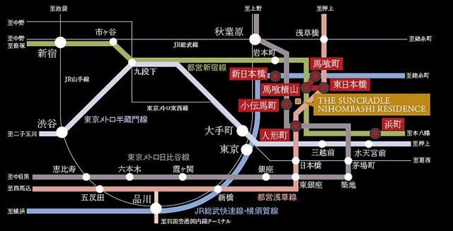 ザ・サンクレイドル日本橋レジデンスの交通アクセス図