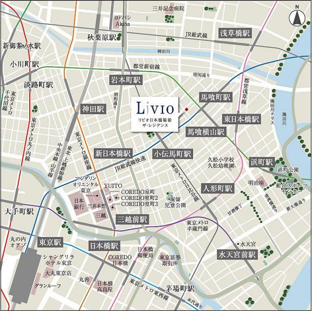 リビオ日本橋鞍掛ザ・レジデンスの周辺地図