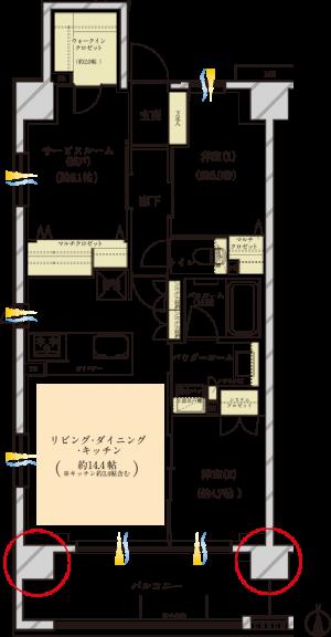 ⑥ヴェレーナ横浜反町駅前の間取図(Aplan)