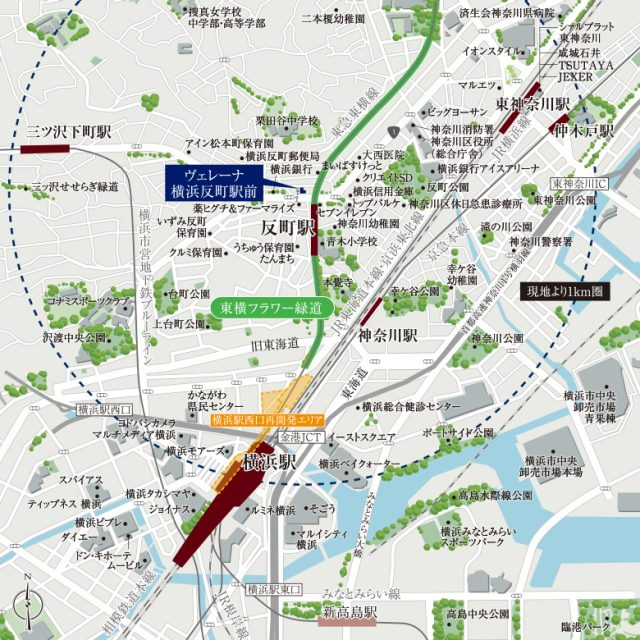 ④ヴェレーナ横浜反町駅前の周辺地図
