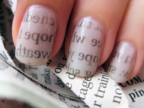 「報紙轉印指彩,在家輕鬆 DIY」- Newspaper Nail Art