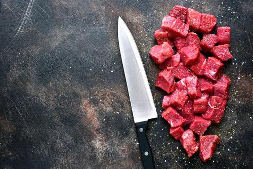 カットした牛肉