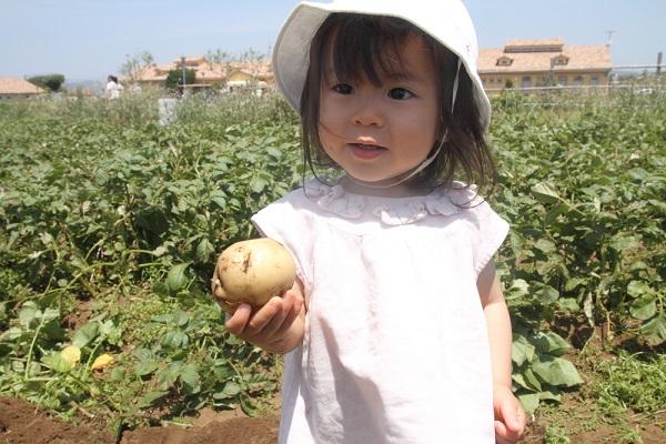 ジャガイモを持つ女の子