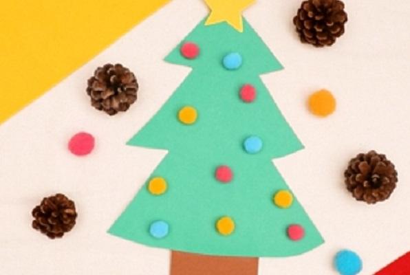 【動画】貼るだけ簡単!コットンボールクリスマスツリーを作ってみよう
