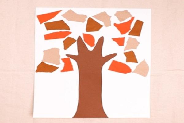 【動画】折り紙でちぎり絵の落ち葉を作ろう