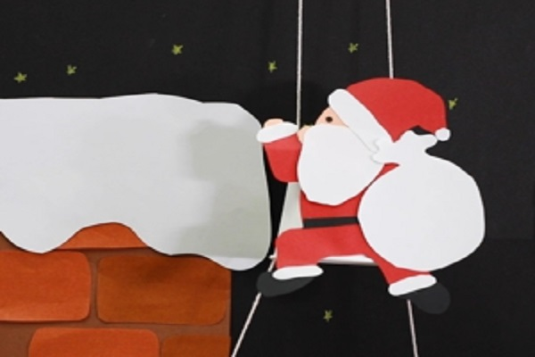 【動画】クリスマス製作。スイスイ登るサンタさんをつくろう