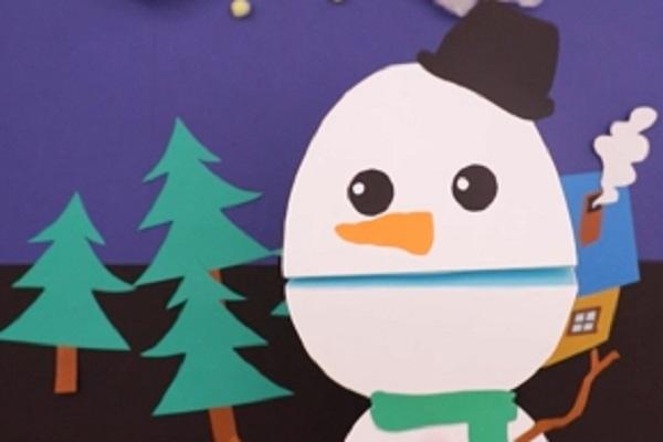【動画】パクパクかわいい冬の製作。雪だるまパペットをつくろう