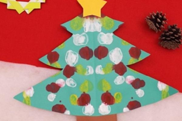 【動画】デカルコマニーを活用してクリスマスツリーの製作を作ろう
