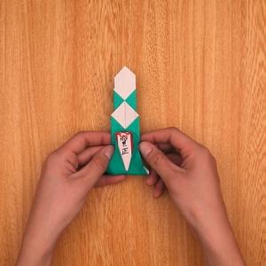 折り紙の門松 賀正のパーツを組み合わせてできあがり