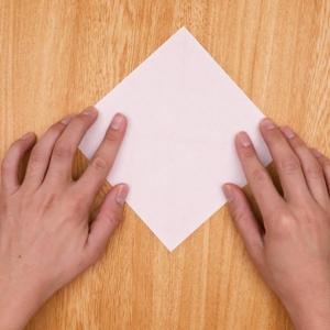 折り紙を三角に2回折る工程