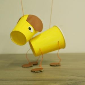 【動画】保育の人形劇に活用できる!紙コップでつくる犬のマリオネット