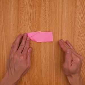 先端を小さく折ってから、全体を山折りする