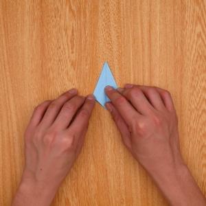 中央を目印にして左右を折ってから、一度開いて内側に折る