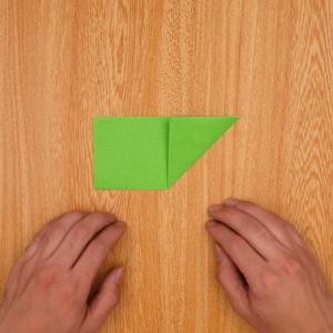 表に戻したら、対角線上に奥に向かって折る
