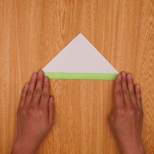 中央線の折り目で折る