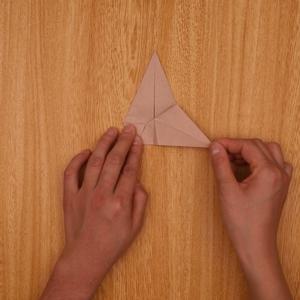 下方の角をとるように折ります。