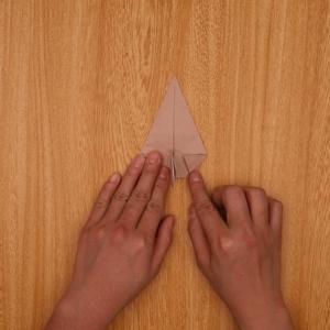 もう片側の角をとるように折ります。