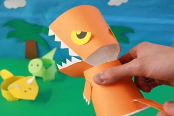 【動画】口がパクパク動く!紙コップティラノサウルス