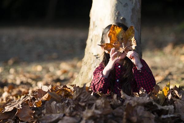 落ち葉のお面