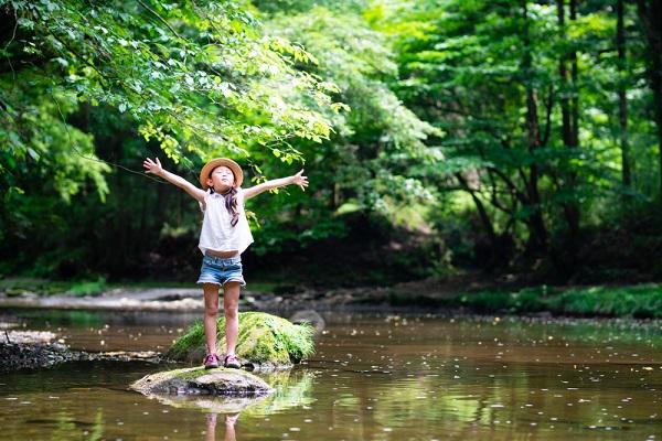 夏の自然遊びをする子ども