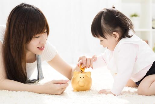 親子と貯金箱