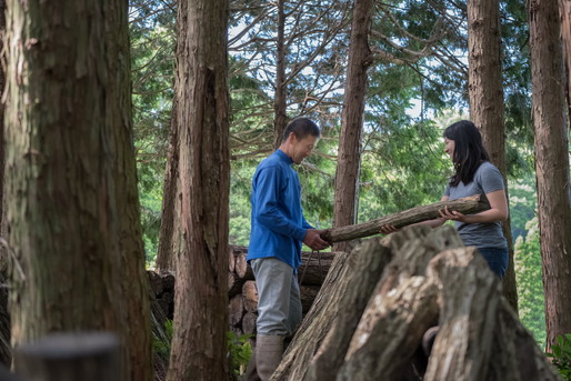 森林の中に男性と女性