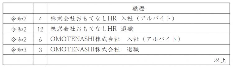履歴書・職歴欄の書き方(アルバイトの職歴)