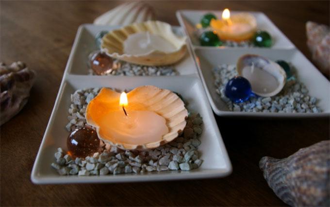 海の思い出、貝殻キャンドルづくり