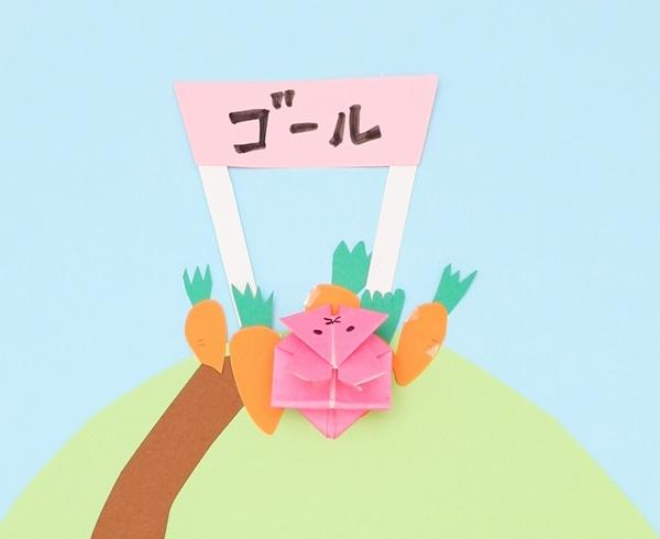 【動画】ぴょんぴょん跳ねる折り紙のうさぎ