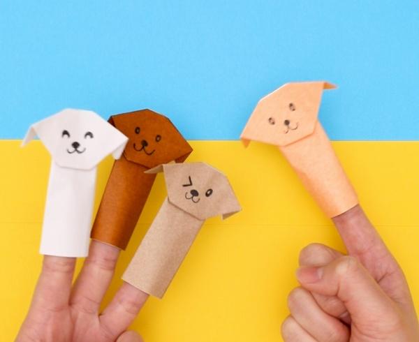 【動画】いぬの折り紙ゆび人形
