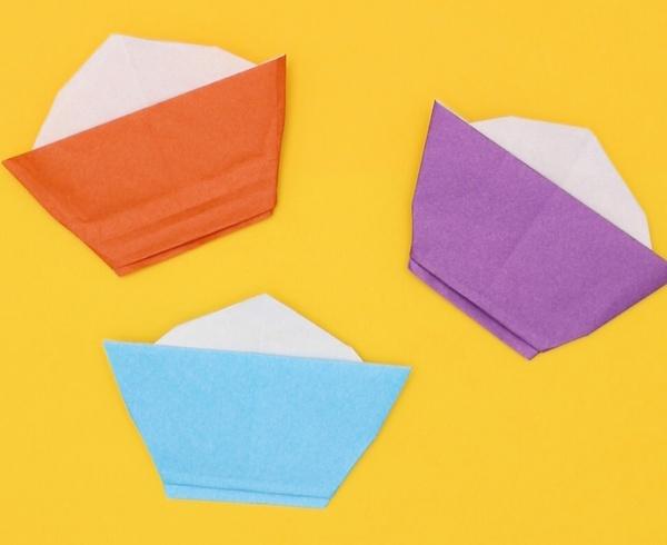 【動画】ほかほかごはんを盛った折り紙お茶碗