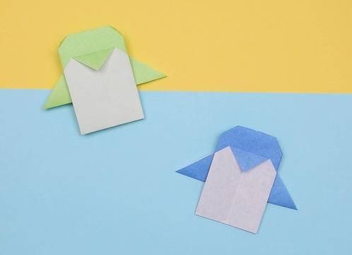 【動画】折り紙のペンギン、指人形にも