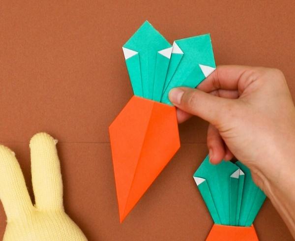 【動画】うさぎが好きなにんじんを折り紙で