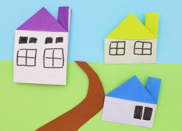 【動画】折り紙の家でオリジナルの街づくり