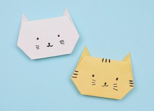 【動画】折り紙で作る簡単なねこの顔