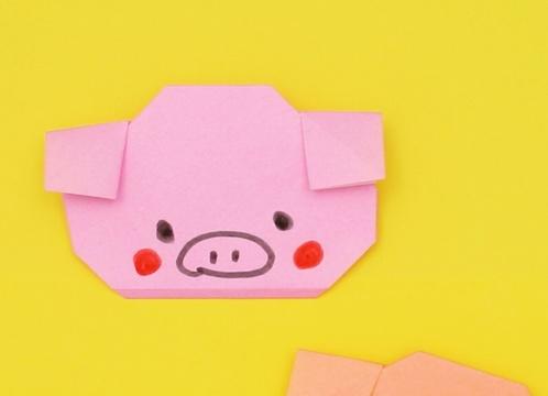 【動画】簡単なブタさんの顔を折り紙で