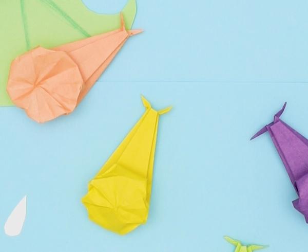 【動画】雨の日に会えるカタツムリを折り紙で