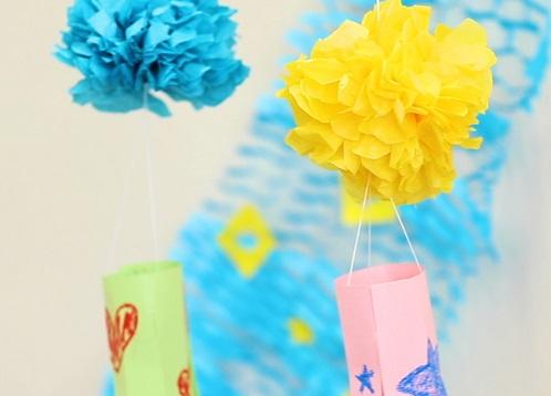 【動画】フラワーペーパーで七夕飾り。ぽんぽん吹き流しの作り方
