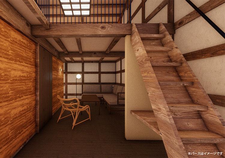 古民家の構造を活かした、ユニークな宿泊体験を提供