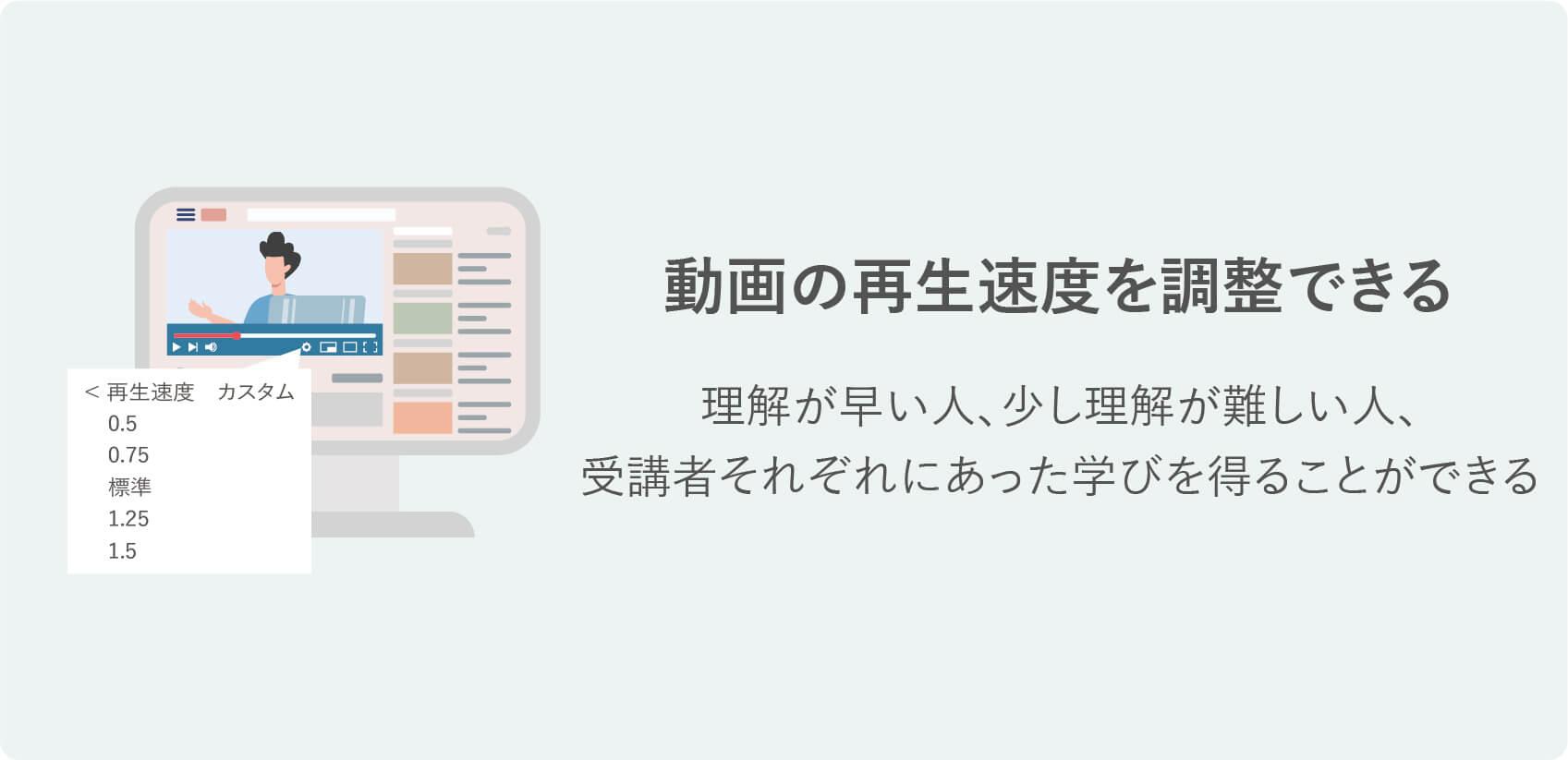 オンライン研修の特徴 動画の再生速度を調整できる