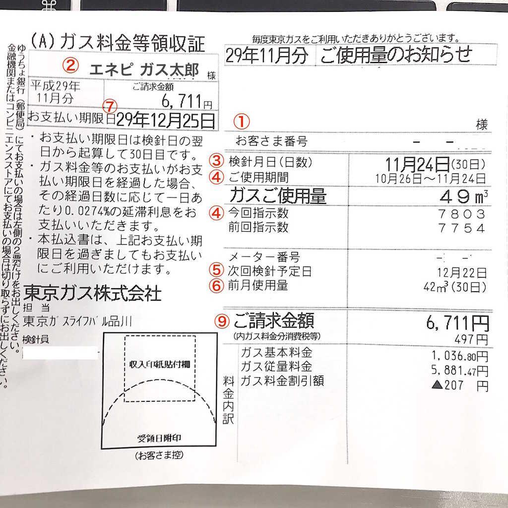 都市ガスの検針票の見方(東京ガスの場合)