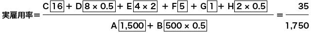 実雇用率=(C 16 + D 8 × 0.5 + E 4×2 + F 5 + G 1+ H 2×0.5)÷(A 1,500 + B 500×0.5)=35÷1,750