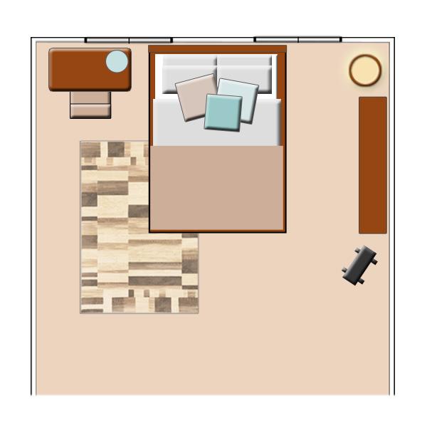 個人のスペースも大切にした2人の寝室コーディネート
