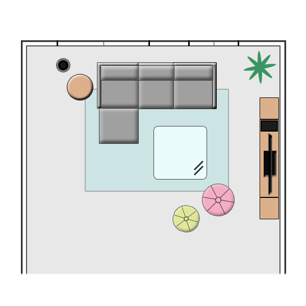 新生活を彩るパステルカラーの大人なリビングコーディネート レイアウト図