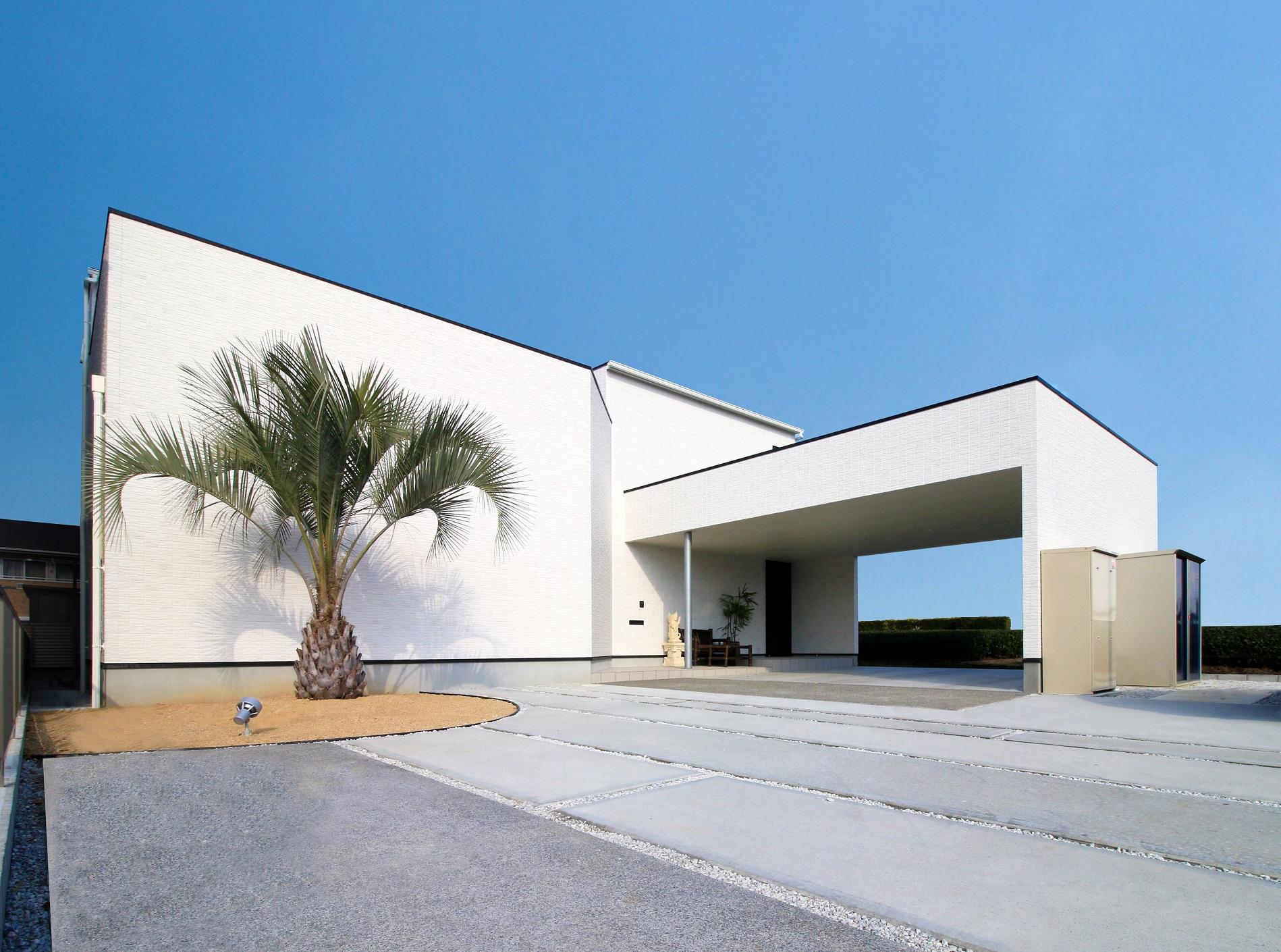 will建築工房【デザイン住宅、ペット、ガレージ】ガレージと一体化したシンプルモダンな外観。白い外壁に写る植栽の陰影がオリエンタルな雰囲気を醸し出す