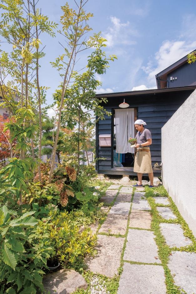 共感住宅 ray-out (レイアウト)【デザイン住宅、趣味、自然素材】庭もご主人の仕事場。植物も随分と大きくなった