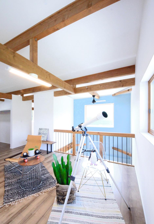 illi-to design 鳥居建設21【省エネ、ガレージ、間取り】2階ベッドルーム。2階にはほかに収納やフリースペースもあるが、間仕切りは一切なし