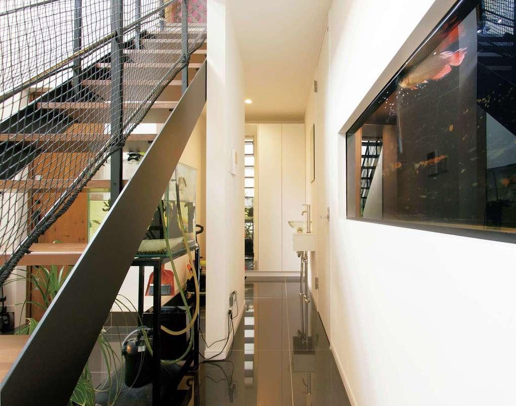 未来創建【デザイン住宅、間取り、建築家】水槽ではアロワナを飼育