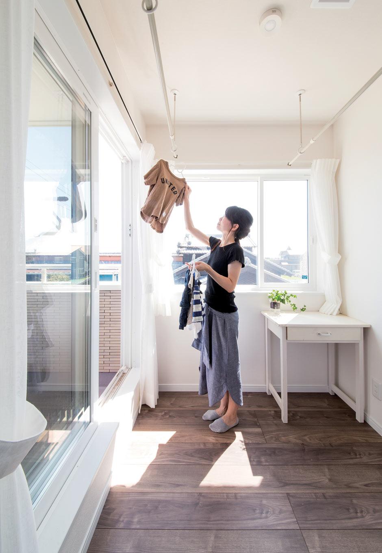 未来創建【デザイン住宅、省エネ、間取り】2階のサンルーム。共働き夫婦の忙しい毎日を助けてくれる