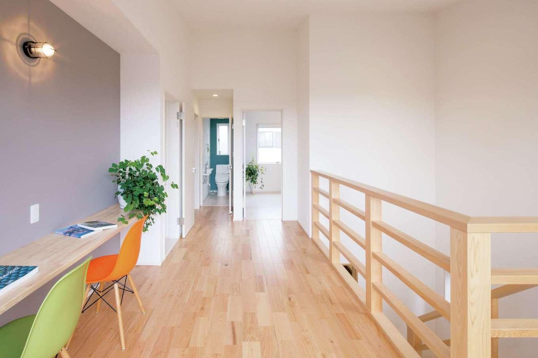 一級建築士事務所GO_AN (ゴアン)【デザイン住宅、建築家、自然素材】2階には、奥さまがのびのびと趣味のヨガを楽しめるホールを設置